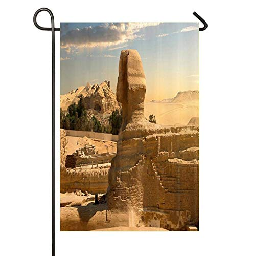The Sphinx Club Halloween (Febrrylice Happy Garden Flag Decorative for Garden and Home Decorations Happy Halloween Sphinx and Pyramid 12×18)