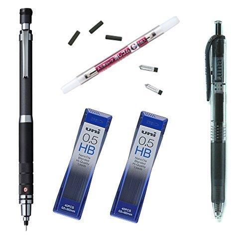 uni-mechanical-pencil-kurutoga-roulette-modelgun-metallic05m510171p43-pencil-leads05-hb-x-2-pack-pen