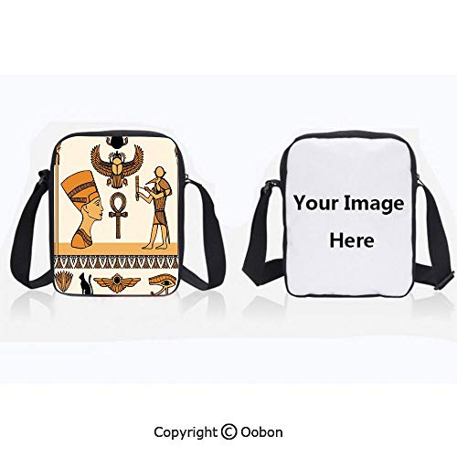 Polyester Anti-Theft Cross-Body Bag Unisex Adult Historical Ancient Symbols Set with Nefertiti Profile Antique Artwork Ivory Marigold Black Zipper Bucket Anti Theft Bag For ()