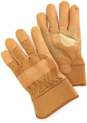 Carhartt Men's Grain Leather Work Glove with Safety Cuff, Brown, X-Large (Cuff Grain)