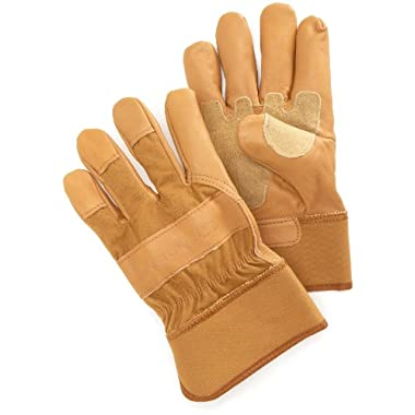 Carhartt Men's Grain Leather Work Glove with Safety Cuff, Brown, Large