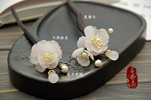 Chinese Style Wintersweet Hair Clasp / 100% Hand-Made Womens Traditional Retro Hair Clasp /Wintersweet / Light Pink softgege