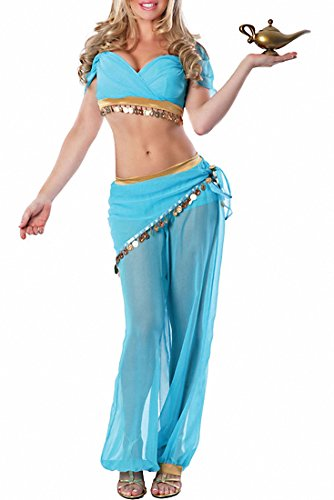 Female Genie Costumes (Womens Harem Sexy Dreamy Genie Theme Party Fancy Sexy Genie Halloween Costume)