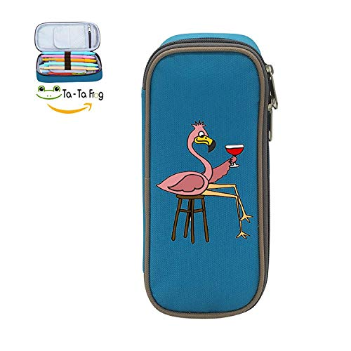 Pink Flamingo Birthday Funny 3D Printed Multicolor Pen Bag,Pencil case Teens Pen Container,Double Zipper Student Stationery Girl's Durable Large Volume Bag of Makeup Bag -