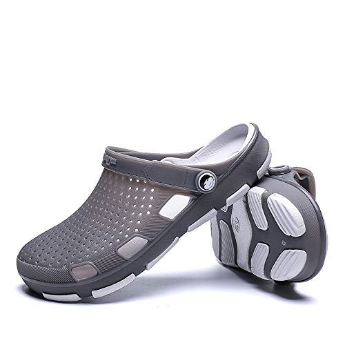 Luuruu De Chaussures Été Jardin Sabots Hommes Gris Mules Antidérapant Respirant Pantoufles Plage RnHwrRqxX