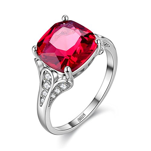 98463278c6 Uloveido 10mm Created Red Ruby Halo Silver Color Engagement Wedding Rings  for Women Fashion Jewelry (