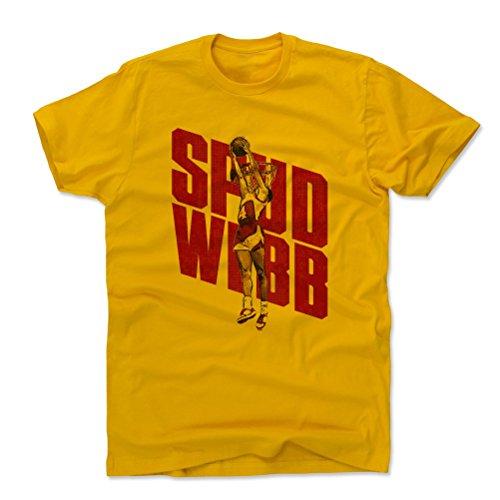 Webb Dunk Spud - 500 LEVEL Spud Webb Cotton Shirt Large Gold - Vintage Atlanta Basketball Men's Apparel - Spud Webb Dunk R