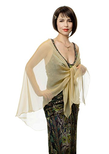 Antique Gold Silk Chiffon Triangular Shawl Wrap for Evening Dress by Lena Moro
