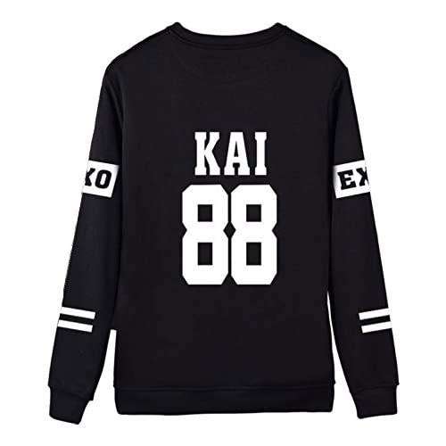 Dolpind Kpop EXO Black Sweater Long Sleeve Hoody Pullover Sweatershirt