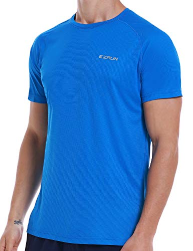 Men's Dry Fit Mesh Athletic T Shirts Quick Dry Moisture Wicking Running Workout Shirts for Men,Blue,l