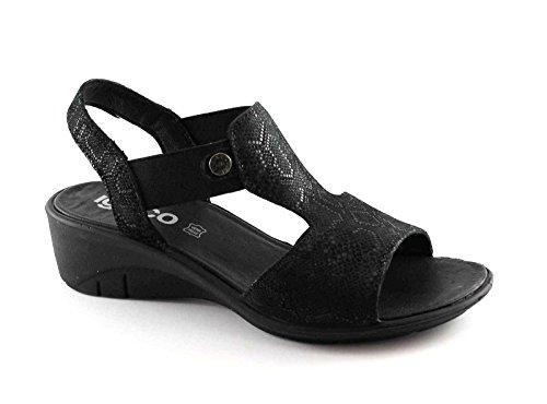 IGI & CO 78184 mujeres negras zapatos elásticos sandalias de cuero cuña Nero