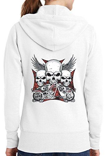 Womens Chopper Skulls Full Zip Hoodie, White, 4X