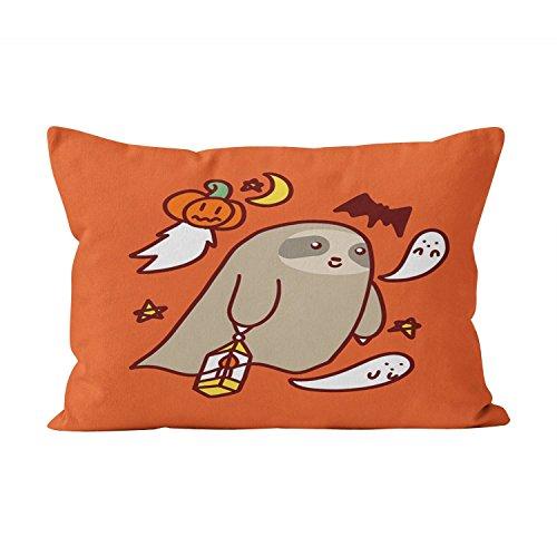 Hahala Hot Halloween Ghost Sloth Hidden Zipper Home Decorative Rectangle Throw Pillow Cover Cushion Case Lumbar 12x24 Inch One Side Design Printed Pillowcase