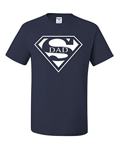 Super Dad T-Shirt Funny Superhero Father's Day Tee Shirt Navy Blue L]()