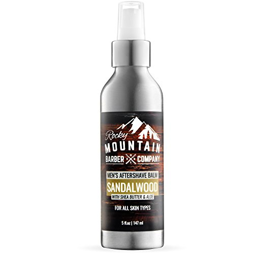 Aftershave Balm For Men - With Natural Sandalwood Essential Oil - 5 Ounce - Moisturizer Face Cream to Prevent Razor Burn & Dry Skin After Shaving by Rocky Mountain Barber Company ()