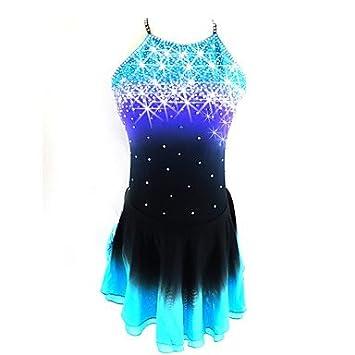 88da1c9b76f Heart M Robe de Patinage Artistique Femme Fille Patinage Robes Noir Bleu.  Tenue de Patinage