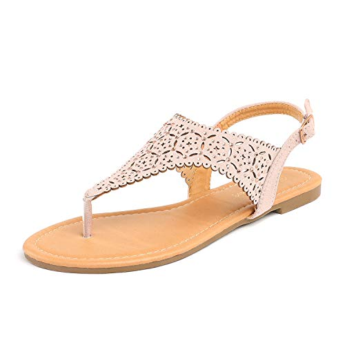 LE MIU MEDINIE Women Rhinestone Casual Wear Gladiator Flat Cut Out Sandals, Nude, 8.5 B(M) US