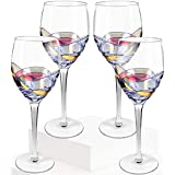 Culinaire Wine Glass 21 Once Glasses Set Of 4 Exceptional Hand Painted Ideal For Weddings, Anniversary, Engagement Party Excellent Gift For Wine Enthusiasts Red Or White Wine NEW UPDATED PACKAGING