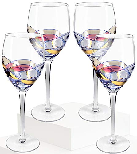 (Culinaire Wine Glass 21 Once Glasses Set Of 4 Exceptional Hand Painted Ideal For Weddings, Anniversary, Engagement Party Excellent Gift For Wine Enthusiasts Red Or White Wine NEW UPDATED PACKAGING)