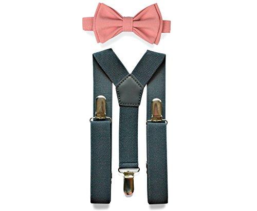 Charcoal Grey Suspenders & Bow Tie Set for Baby Toddler Boy Teen Men (5. Adult (5'8