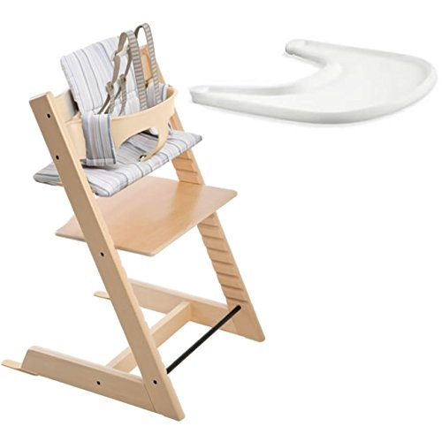 Stokke Tripp Trapp Chair, Baby Set, Tray and Soft Stripe Cushion - Natural by Stokke