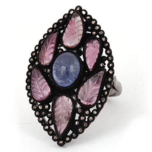 - Tanzanite Tourmaline Diamond Flower Ring Gemstone Solid Pave 925 Sterling Silver Halloween Jewelry