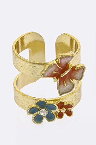 BAUBLES & CO FLORAL BUTTERFLY TIP OPEN RING (Orange/Multi) (Tacori Ring Prices)