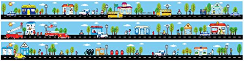 Tiny Town Street Road Wall Border Wall Decal / 4.5 inch x 13 Feet of Roads with Cars and Trucks Bus, Mail, Fire, Ice Cream, Police with School, Toy Store, Bank, Police and Fire Station.