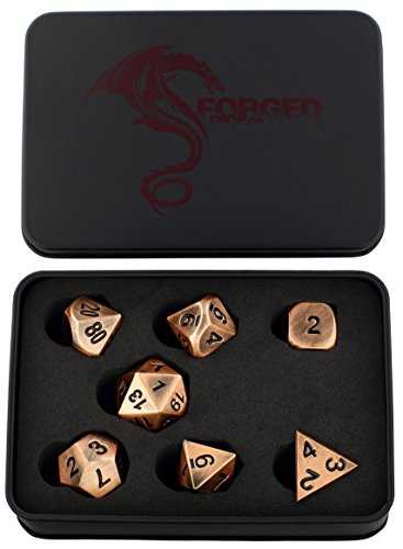 Forged Dice Co. Metal Antiqued Copper Color Set of 7 Polyhedral Dice for RPG Gaming Games with Dragon Logo Tin Case (Steel Case Playing Card)