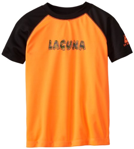 Laguna Little Boys' Shocking Camo Loose Fit Rashguard, Orange/Black, 4 Loose Fit Camo