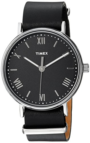 Timex Men's TW2R28600 Southview 41 Black/Silver-Tone Leather Strap Watch (Black Leather Dress Watch)