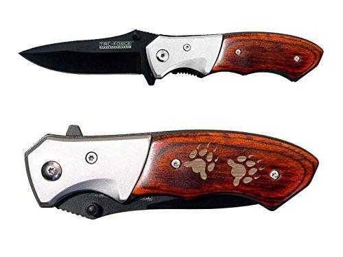 NDZ Performance Bear Paw Prints SolidTAC-Force TF-468 Folding Pocket Knife EDC Pakkawood Gentleman's Speedster Model with Bolster Custom Laser - Bear Prints Paw