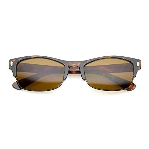 sunglassLA - Classic Horn Rimmed Rectangle Lens Half Frame Sunglasses 53mm (Tortoise - Bronze Lens Brown Frame Tortoise