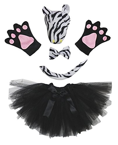 Petitebella 3D Headband Bowtie Tail Gloves Tutu Unisex Children 5pc Girl Costume (3D Black (Zebra Tutu With Headband)