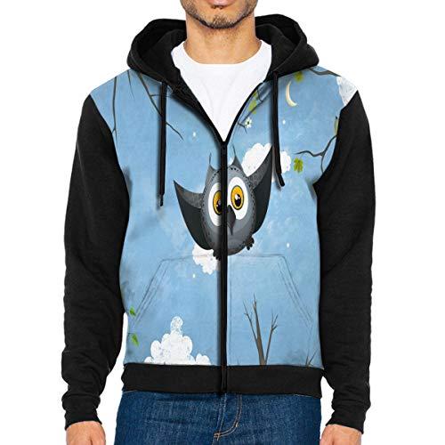 Men Hoodie May Owl Flight Personalized Full Zip with Pocket Sweatshirt Lightweight Easter Black ()