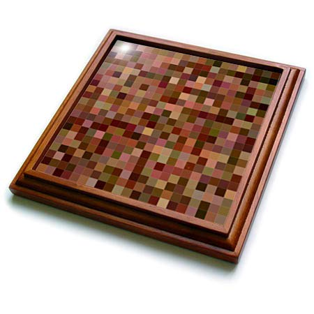 3dRose David Zydd - Square Backgrounds - Brown color square mosaic design - 8x8 Trivet with 6x6 ceramic tile (trv_301660_1)