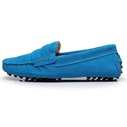 Shenn Mujer Comodidad Ponerse Gamuza Mocasín Pisos 24208 Azul - azul