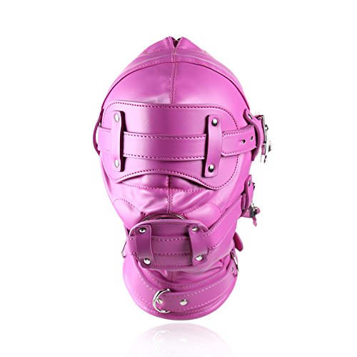 Price comparison product image YiFeng Fetish Mask Head Hood with Lockable Blindfold & Dildo Penis Mouth Gag Costume Bondage Adult Sex Toys BDSM (Hot Pink)