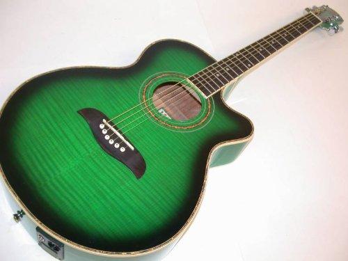 Oscar Schmidt by Washburn OG10CE Full Size Cutaway Acoustic Electric Guitar – Transparent Green