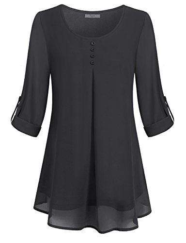Cestyle Tunics for Women, Girls Long Sleeve Swing Zulily Tops Ruched Comfy Scoop Neck Causal Plain Slim Fit Vintage Chiffon T Shirt Tired Cute Curved Hem Elegant Blouses with Buttons Front Black M (Vintage Chiffon)