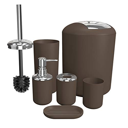 Soeland Bathroom Accessories Set Brown, 6 Pieces Plastic Gift Set Bath Accessories Luxury Bath Set Includes Toothbrush Holder, Toothbrush Cup, Soap Dispenser, Soap Dish, Toilet Brush Holder,Trash Can