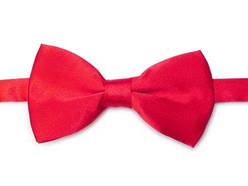 CNACCASU Men Red Formal Satin Banded Bow Tie Tuxedo Ties(FBA) (Red Bow Tie)