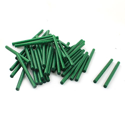 uxcell 7mm x 100mm Dark Green Glitter Electric Hot Melt Gun Glue Stick 50Pcs (Mm Glitter 100)