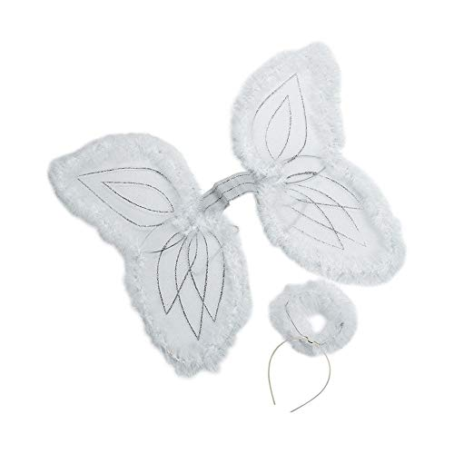 Fun Express Kid's White Marabou Angel Wings & Halo Headband -