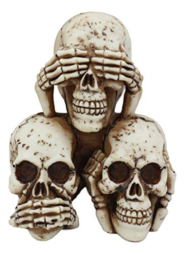 Ebros Stacked No Evil Skulls Figurine for Scary Halloween Decorations and Spooky Skeleton Statues & Medieval Fantasy Home Decor Sculptures and Gothic Gifts with See Hear Speak No Evil Theme]()