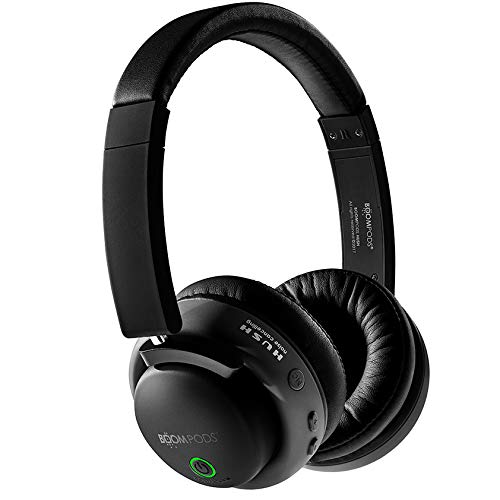 Boompods Hush Active Noise Canceling Bluetooth Headphones (Black) On-Ear Comfort Earpads - Wireless 12 Hour Battery - Deep Bass - Powerful Noise Reduction