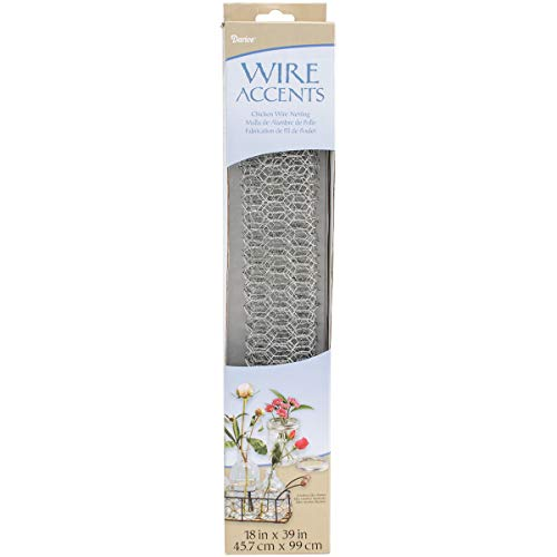 "Darice Galvanized Metal Chicken Wire Net (1pc), Silver –Perfect for Craft Projects, Home Use and Gardening – Lightweight Mesh Wire is Easy to Work With, Cut and Shape– Can be Spray Painted, 18"" x 39"""