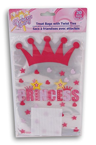 Princess Birthday Cellophane Treat Bags with Twist Ties - 20 count