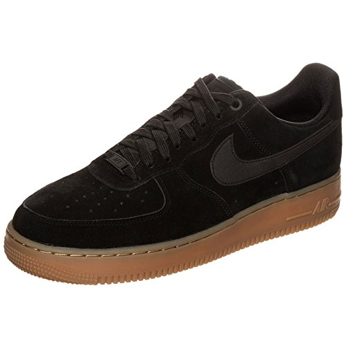 Nike Mens Air Force 1 07 Scarpa Da Basket In Pelle Scamosciata Lv8 Nero / Nero-gomma Marrone Medio