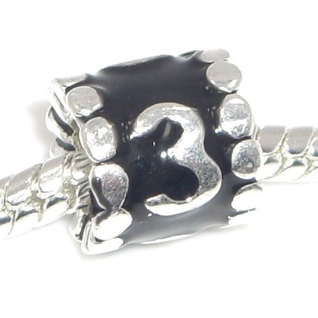 """Jewelry Monster """"Black and Silver Number Barrels (0-9)"""" Charm Bead for Snake Chain Charm Bracelet (3)"""